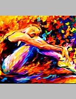 Недорогие -Ручная роспись Люди Горизонтальная, Modern холст Hang-роспись маслом Украшение дома 1 панель