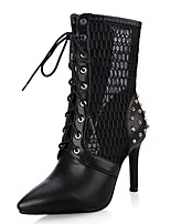 cheap -Women's Shoes Leatherette Spring Fall Ankle Strap Fashion Boots Boots Stiletto Heel Pointed Toe Mid-Calf Boots Rivet for Wedding Party &