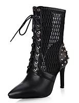 preiswerte -Damen Schuhe Kunstleder Frühling Herbst Knöchelriemen Modische Stiefel Stiefel Stöckelabsatz Spitze Zehe Mittelhohe Stiefel Niete für