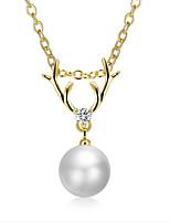 Недорогие -Жен. форма Мода европейский Ожерелья с подвесками Цирконий Жемчуг Позолота Ожерелья с подвесками Свадьба Повседневные