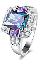 cheap -Women's Band Ring Synthetic Amethyst Rhinestone 1pc Classic Vintage Elegant Titanium Circle Costume Jewelry Wedding Party Daily