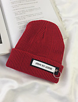 cheap -Cotton Beanie/Slouchy, Casual Winter Fall Red Beige Navy Blue Gray Wine