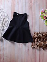 Недорогие -Девочки Набор одежды Повседневные Праздники Искусственный шёлк Однотонный Леопард Без рукавов Очаровательный Богемный Черный