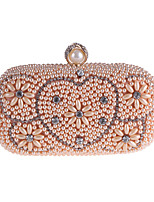cheap -Bags Polyester Evening Bag Crystal Detailing Pearl Detailing for Wedding Event/Party All Seasons Champagne White
