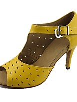 cheap -Women's Latin Leatherette Tulle Sandal Heel Professional Polka Dot Customized Heel Yellow Customizable