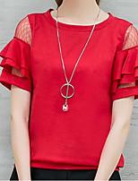 preiswerte -Damen Solide Einfach Street Schick Alltag Ausgehen T-shirt,Rundhalsausschnitt Frühling Sommer Kurze Ärmel Polyester
