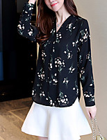 Недорогие -Жен. Офис Рубашка, V-образный вырез Богемный Цветочный принт