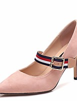 cheap -Women's Shoes Fleece Spring Fall Basic Pump Heels Stiletto Heel Pointed Toe Buckle for Casual Black Pink Khaki