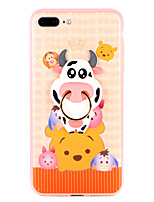 baratos -Capinha Para Apple iPhone 8 Plus iPhone 7 Plus Suporte para Alianças Capa traseira Animal Macia TPU para iPhone 8 Plus iPhone 7 Plus