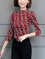 cheap -Women's Work Plus Size Slim Blouse - Floral, Print Turtleneck