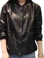 Недорогие -Жен. Повседневные Зима Длинная Кожаные куртки V-образный вырез, Простой Однотонный Полиуретановая Крупногабаритные