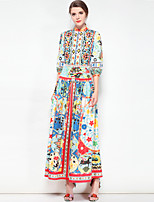 cheap -Women's Plus Size Boho Swing Dress - Floral, Basic Maxi Stand