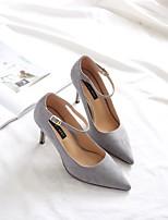 preiswerte -Damen Schuhe Vlies Frühling Herbst Komfort High Heels Stöckelabsatz Spitze Zehe für Normal Büro & Karriere Schwarz Grau Mandelfarben