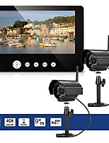 cheap -2 x digital camera with 9 lcd monitor dvr wireless kit home cctv security system