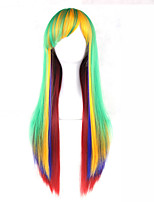 cheap -women synthetic wig capless long straight fluorescent ggreen pink purple with bangs cosplay lolita wig