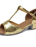 "cheap -Children's Latin Paillette Leatherette Sandal Heel Training Buckle Paillette Chunky Heel Gold 2"" - 2 3/4"" Customizable"