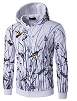 cheap -Men's Daily Floral Hooded Hoodie Regular, Long Sleeves Spring