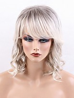 cheap -Deep Wave Layered Haircut With Bangs Machine Made Human Hair Wigs Side Part Highlighted/Balayage Hair Black/Grey