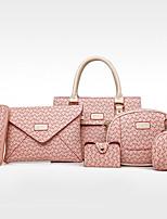 cheap -Women's Bags PU Bag Set 6 Pieces Purse Set Pattern / Print for Shopping Casual All Seasons Blue White Blushing Pink Brown