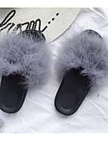 Недорогие -Жен. Обувь Бархатистая отделка Весна Осень Удобная обувь Тапочки и Шлепанцы На низком каблуке для Повседневные Черный Серый