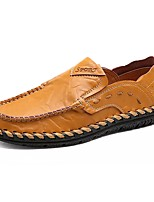 cheap -Men's Shoes Cowhide Spring Fall Moccasin Loafers & Slip-Ons for Casual Black Yellow Brown