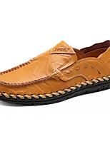 Недорогие -Муж. обувь Кожа Весна Осень Мокасины Мокасины и Свитер для Повседневные Черный Желтый Коричневый