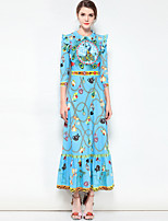 cheap -Women's Boho Swing Dress - Floral, Basic Maxi Shirt Collar