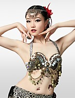 cheap -Belly Dance Tops Women's Performance Cotton Polyester Beading Bandage Sleeveless Dropped Bra