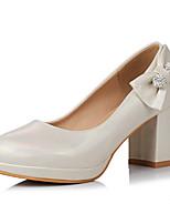 preiswerte -Damen Schuhe PU Frühling Herbst Komfort Neuheit High Heels Blockabsatz Spitze Zehe Schleife Niete für Party & Festivität Büro & Karriere