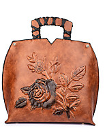 cheap -Women's Bags PU Tote Embossed for Shopping Casual All Seasons Green Red Brown