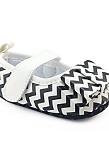 cheap -Girls' Shoes Leatherette Spring Fall Crib Shoes First Walkers Comfort Flats Bowknot Magic Tape for Casual Outdoor Black/White