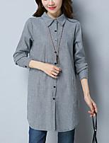 cheap -Women's Cotton Linen Shirt - Check Shirt Collar