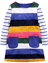 cheap -Girl's Daily Holiday Striped Dress,Cotton All Season Long Sleeve Cute Casual Rainbow