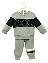 cheap -Baby Boys' Daily Print Clothing Set, Cotton Spring Fall Simple Casual Long Sleeves Gray