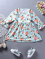 cheap -Girl's Daily Holiday Floral Print Dress, Nylon Spring Summer Long Sleeves Cute Active Light Green