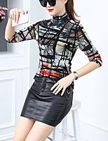 abordables -Chemisier Grandes Tailles Femme, Couleur Pleine - Imprimé Travail simple Col Roulé Mince