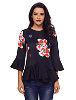 cheap -Women's Daily Holiday Street chic Winter T-shirt,Floral Round Neck ¾ Sleeve Polyester Spandex