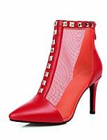 abordables -Mujer Zapatos Red Semicuero Primavera Otoño Botas de Moda Botas Tacón Stiletto Dedo Puntiagudo Botines/Hasta el Tobillo Remache para Boda
