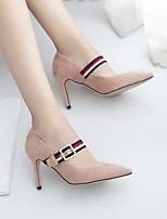 cheap -Women's Shoes Flocking Spring Fall Comfort Heels Stiletto Heel Pointed Toe Buckle for Casual Office & Career Black Pink Khaki