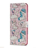baratos -Capinha Para Samsung Galaxy S9 S9 Plus Porta-Cartão Carteira Com Suporte Flip Magnética Capa Proteção Completa Unicórnio Rígida PU Leather