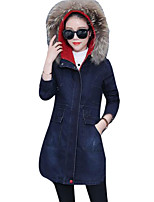cheap -Women's Daily Casual Winter Denim Jacket,Letter Hooded Long Sleeve Long Cotton Embroidered