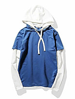 cheap -Men's Daily Color Block Hooded Hoodie Regular, Long Sleeves Spring Cotton