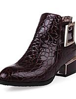 preiswerte -Damen Schuhe Lackleder Frühling Herbst Modische Stiefel Stiefel Blockabsatz Spitze Zehe Booties / Stiefeletten für Normal Party &