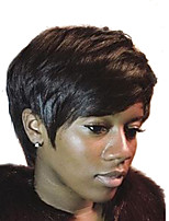 cheap -Natural Wave Pixie Cut With Bangs Machine Made Human Hair Wigs Side Part Natural Black Medium Auburn Medium Auburn/Bleach Blonde Beige
