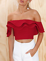 cheap -Women's Slim T-shirt - Solid, Backless Ruffle Boat Neck