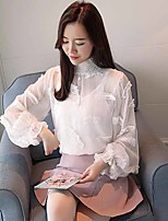 cheap -Women's Work Vintage Lantern Sleeve Polyester Blouse - Solid Stand