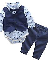Недорогие -малыш Мальчики Набор одежды Повседневные Хлопок Однотонный Весна Осень Длинный рукав Простой Синий