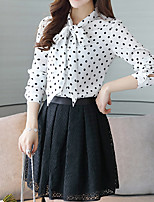 cheap -Women's Going out Work Street chic Spring Summer Blouse, Polka Dot Round Neck Long Sleeves Cotton Polyester