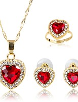 cheap -Women's Gold Plated Jewelry Set 1 Necklace 1 Ring Earrings - Classic Fashion Red Jewelry Set Bridal Jewelry Sets For Wedding Daily