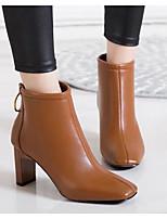 Недорогие -Жен. Обувь Полиуретан Зима Осень Удобная обувь Модная обувь Ботинки На толстом каблуке Ботинки для Повседневные Черный Верблюжий